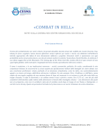 """""""COMBAT IN HELL"""", note sulla guerra nei centri urbani"""