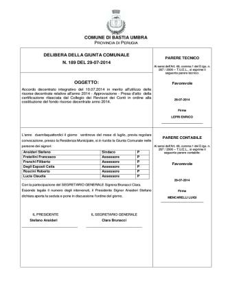 Accordo del 10/07/2014 - Comune di Bastia Umbra