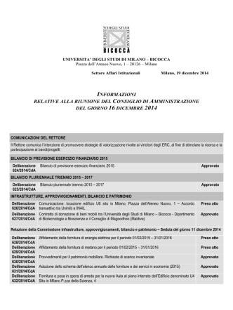 16 dicembre - Università degli Studi di Milano