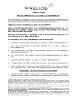 PRELIOS: APPROVATI DAL CDA I DATI AL 30 SETTEMBRE 2014