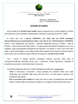 AVVISO DI GARA - Agenzia del Demanio