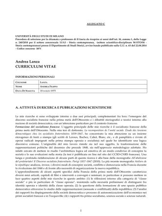 Andrea Lanza CURRICULUM VITAE - Università degli Studi di Milano