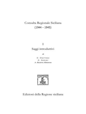 Consulta Regionale Siciliana - Assemblea Regionale Siciliana