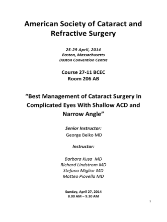 American Society of Cataract and Refractive Surgery