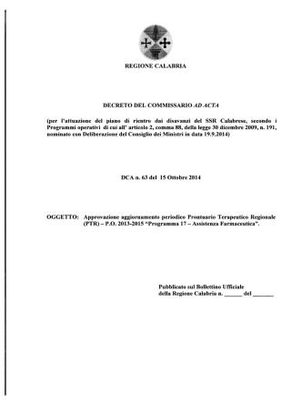 DCA n.63 del 15.10.2014