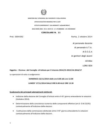 Circ n. 11 - Elezione del Consiglio di Istituto per il