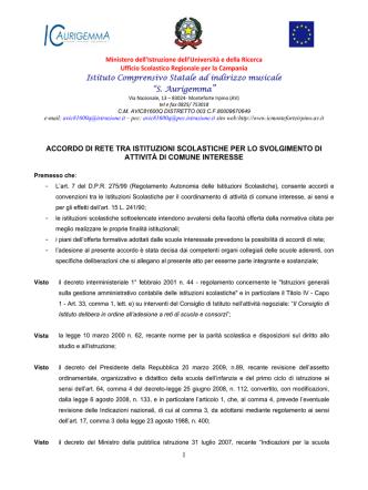 accordo rete - Istituto comprensivo Monteforte Irpino