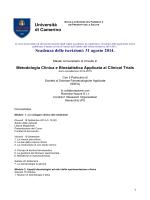 Programma - Master Galenica Tradizionale e Master in Clinical Trials