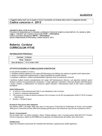 Codice concorso n. 2013 Roberto Cordone CURRICULUM VITAE