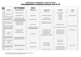 CALENDARIO PARROCCHIALE 2014-15