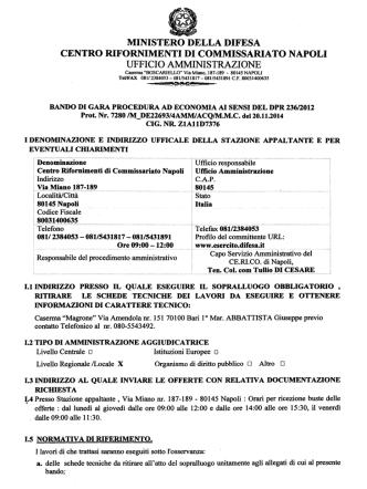 Bando di gara - Ministero della Difesa