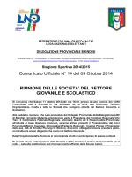 Comunicato Ufficiale n° 14 del 09.10.2014