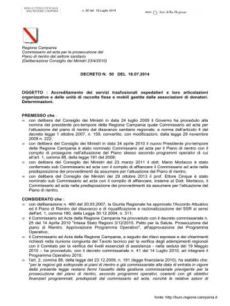 Accreditamento dei servizi trasfusionali ospedalieri e loro
