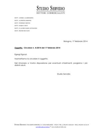 Bologna, 17 febbraio 2014 Oggetto: Circolare n. 4