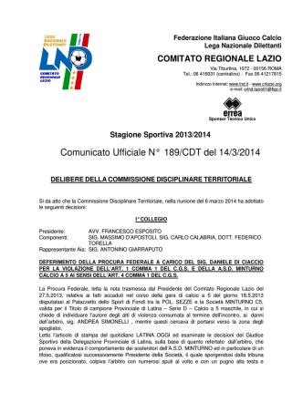 Comunicato Ufficiale N° 189/CDT del 14/3/2014