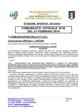 COMUNICATO UFFICIALE N°42 DEL 21 FEBBRAIO