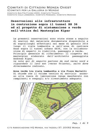 Comitati di Cittadini Monza Ovest Osservazioni alle infrastrutture in