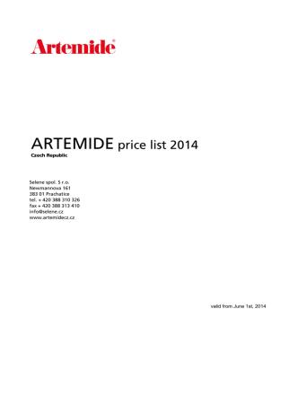 ARTEMIDE price list 2014