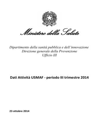Attività USMAF III trimestre 2014