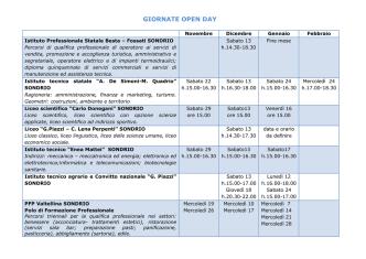 Calendario giornate open day scuole superiori
