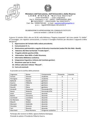 Delibere CDI 15 ottobre 2014 - Liceo Statale Galileo Galilei