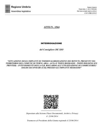 ATTO N . 1564 del Consigliere DE SIO