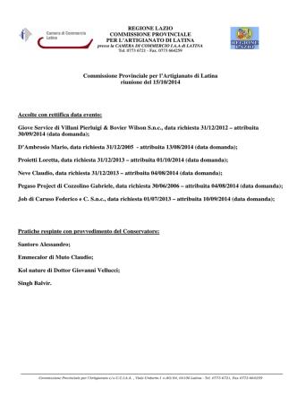 15 Ottobre 2014 - Camera di Commercio di Latina