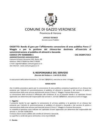 Bando - Comune di Gazzo Veronese