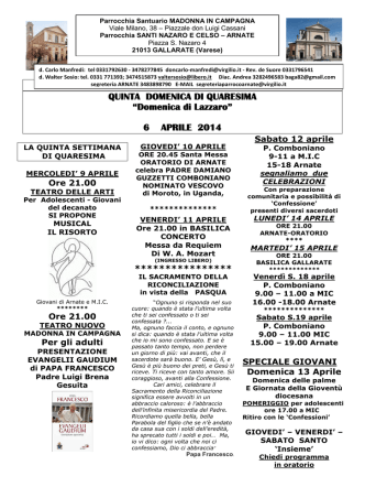 Avvisi e Calendario - Parrocchia Santuario Madonna in Campagna