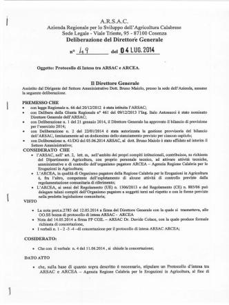 Delibera Protocollo Intesa ARSAC ARCEA
