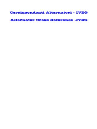 Corrispondenti Alternatori - IVEG Alternator Cross - Ge