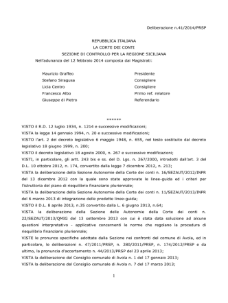 Delibera Corte dei Conti - approvazione - marzo 2014