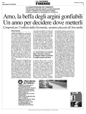 Arno, la beffa degli argini gonfiabili Un anno per decidere dove