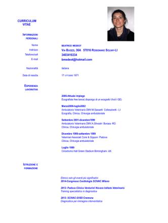 C.V completo - Ambulatorio Veterinario Collesalvetti dr GONZAGA