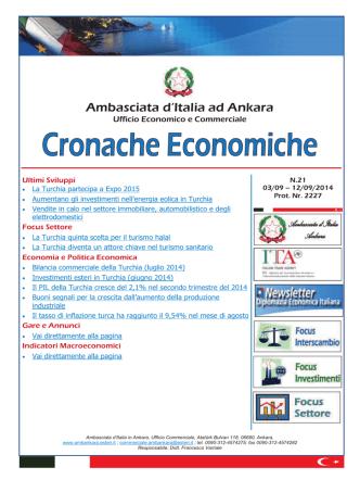 Cronache Economiche N. 21 (3 Settembre