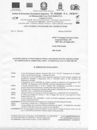 Aggiudicazione Ente Certificatore CISCO