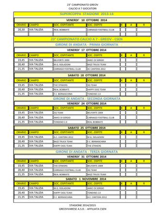 Calendario Girone di Andata e Prima Fase Coppa