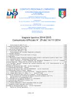 Comunicato Ufficiale N° 29 del 14/11/2014