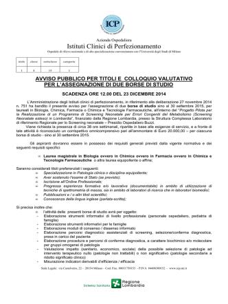 2014-12-09 AVVISO PUBBLICO PER TITOLI E COLLOQUIO