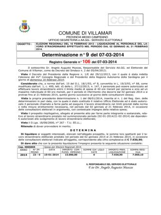 COMUNE DI VILLAMAR Determinazione n° 9 del 07-03-2014