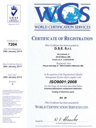 Certificazione ISO 9001 - Dse componenti elettronici