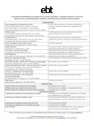 CONVENZIONI - Ente Bilaterale della Provincia di Lodi