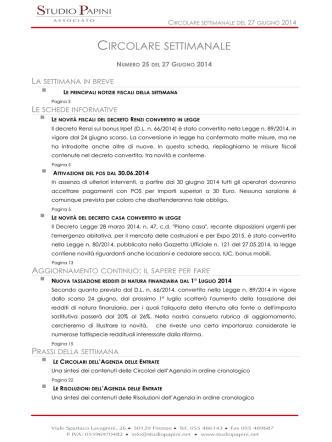 Circolare Settimanale N° 25 del 27.06.2014
