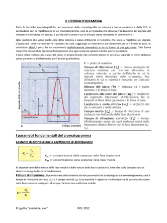 Caratteristiche dei cromatogrammi