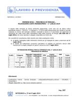 Tabella Retribuzioni e Costo Manodopera dal 1° Luglio 2014