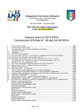 Comunicato Ufficiale N° 40 del 24/04/2014