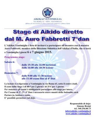 6 e 7 Giugno 2015 - M° Fabbretti Auro 7° Dan