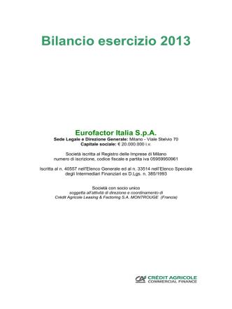 bilancio civilistico 2013 efi vdef per deposito