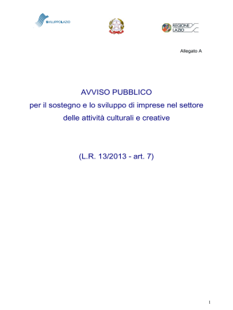 AVVISO PUBBLICO per il sostegno e lo sviluppo di