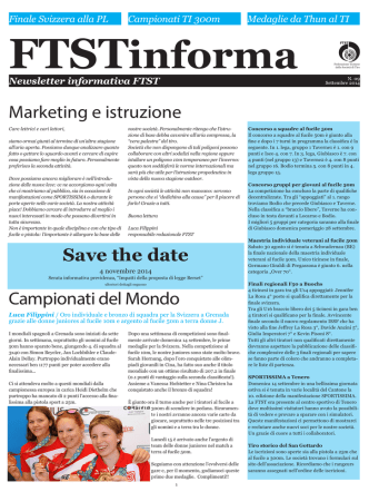 09° Newsletter (15.09.2014) - Federazione Ticinese delle Società di